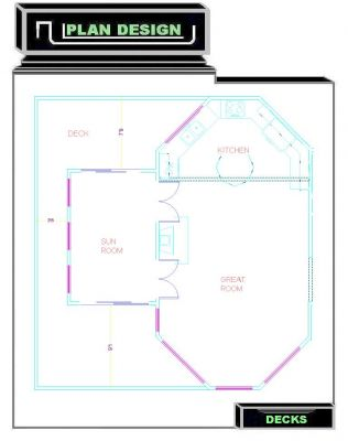 Free Deck Plan Design Ideas - Deck Plan Wrapping Sunroom/Floor Plan