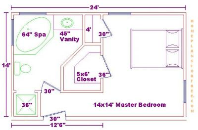 Click to view full size image Master bedroom with master bath layout
