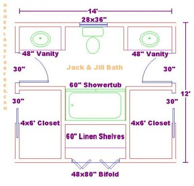 Bathroom Floor Plans Designs on 12x14 Jack And Jill Bath Floor Plan With Two Vanity Cabinets