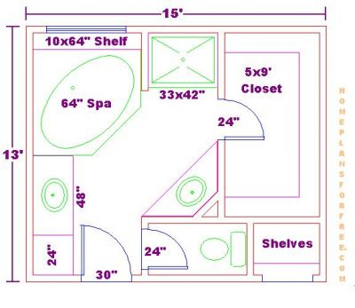 Bathroom Home Design on Free Bathroom Plan Design Ideas   Master Bathroom Design 13x15 Size