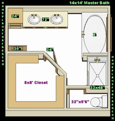 Designbathroom Online Free on Free Bathroom Plan Design Ideas   Master Bathroom Design 14x14 Size