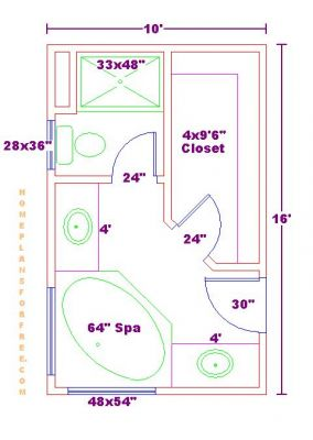 Bathroom Plan Design Ideas - Master Bathroom Plans/Free 10x16 Master