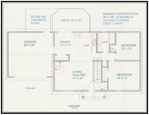 Free home plan 1014 sq ft Online building plan